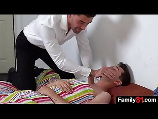 While young boy is a., stepdad comes in and wakes him up