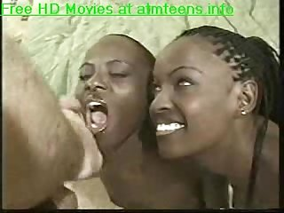 Two ebony babes fucked hard