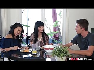 Asian stepmom and her exotic stepdaughter gets a threesome