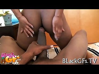 Sporty dark girl impaled on one eyed monster