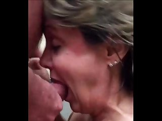 55 Year-Old Amateur Obviously LOVES Cum