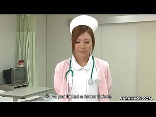 Stunning Japanese nurse gets creampied after being roughly pussy pounded