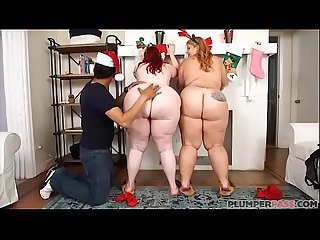 Two Huge Booty BBWS Surprise Fake Santa Claus