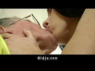 Spoiled young babe fucks the old kitchen aid