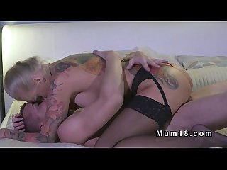 Busty tattooed milf bangs in lingerie