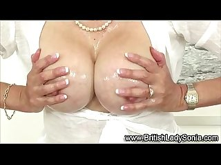 Lady sonia give handjob to cock