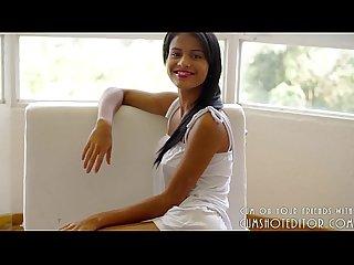 Great teen brunette showing her body