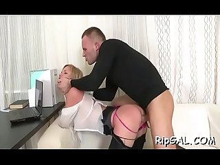Enormous big penis of pretty fellow stuffs her soaked asshole
