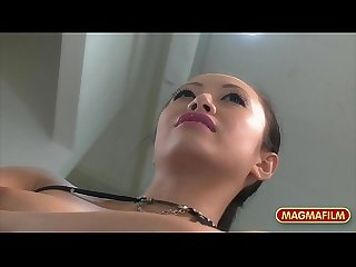 German asian lesbian pleasure in public store