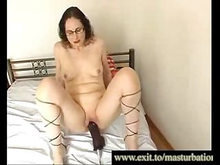 Jessica 42 years with her new modern huge dildo