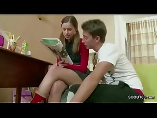 Brother Show Step-Sister how get Pregnant after Homework