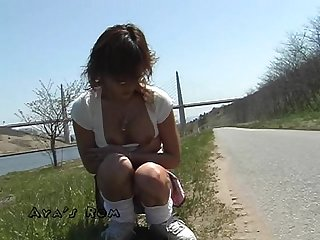 Japanese shaved slut s public pee