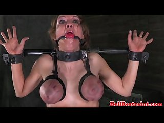 Tit bonded bitch being caned