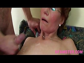 Wet horny mature granny with slim bitch cunt taking the stepsons cock deep mouth