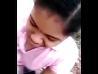 Cute tamil school girl bunks class and gives Hot blowjob in public park