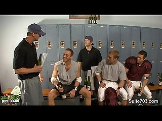 Threesome jocks in locker room