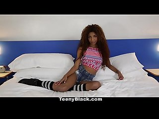 Teenyblack petite ebony does splits while riding dick