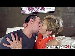 Blonde granny sucks on a y. cock and fucks it good
