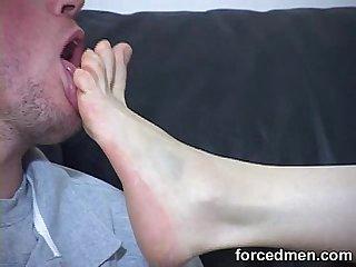 Licking the mistress feet like a sweet tasty lollipop