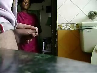 My young maid caught me jerking my cock she likes it