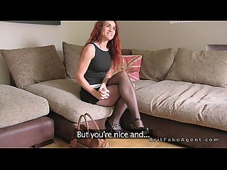 Skinny redhead Milf bangs fake agent uk