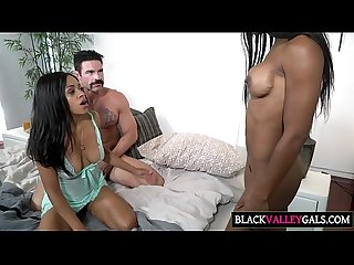 Massive white cock for two black cuties