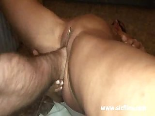 Busty blond milf fisted on a public toilet floor