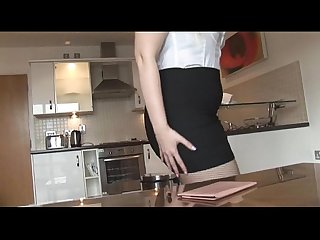 Busty blonde milf in tight skirt and pantyhose