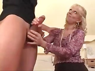 Sexy milf teaches boy how to fuck ass