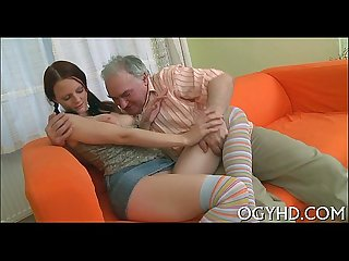 Old boy inserts cock in young hole