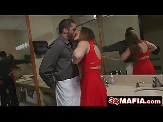 Backstabbing girlfriend dani daniels fucks a waiter in a public bathroom