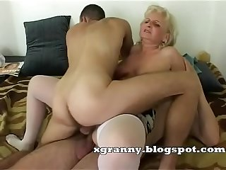 Granny anal and dp 3some