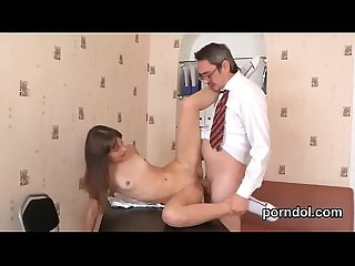 Kissable schoolgirl gets tempted and plowed by her older teacher