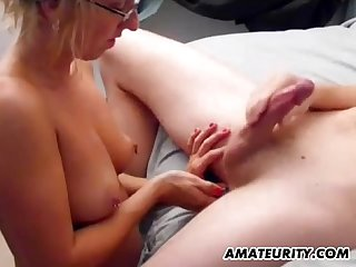 Blonde amateur ex gf sucks and fucks with cum on tits