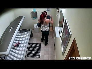 Punk Girl Secretly Masturbating in Solarium Tube