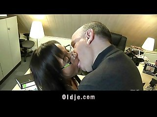 Amateur older man fucking the hot young secretary at porn casting