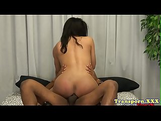 Interracial tgirl asslicked before cockriding