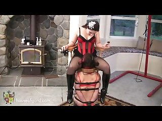 Mistress canes and spanks lesbian babes