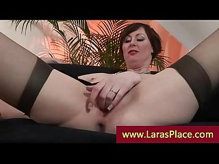 Mature lady rides lucky guy in heels and stockings