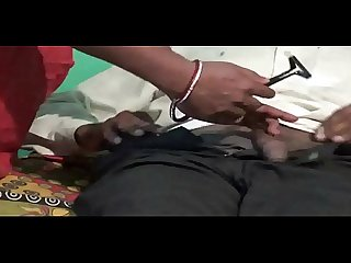cock hair cutting from lady