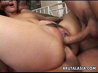 Seductive Japanese hottie fucks with four horny dudes