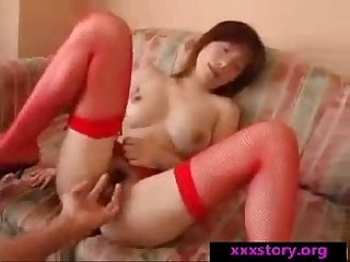 Asian In Red Lingerie