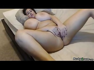 Busty BBW masturbates while bounces her tits