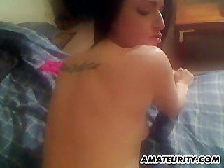 Amateur GF toys, sucks and fucks with facial