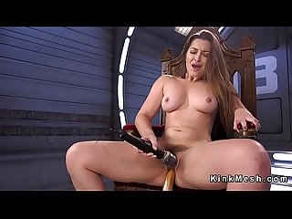 Pole dancer solo fucks machine
