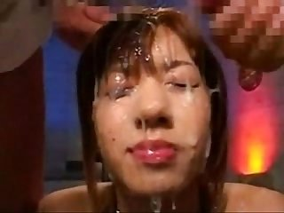 Japanese Slut Gets Covered with Cum from Two Guys