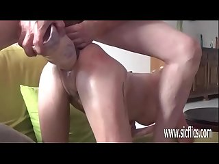 Double fisting and dildo fucking her holes