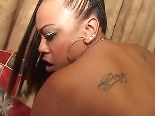 Ebony booty bitch Big Redd with big tits areolas and fat legs gets pussy banged