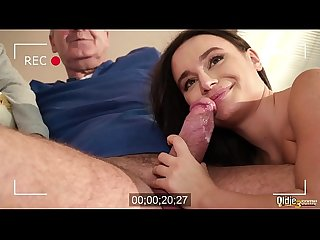 Young girlfriend with old sugar daddy get into hardcore threesome with their brunette neighbor