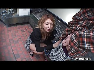 Japanese blonde cock teaser, Nao gives an amazing blowjob, uncensored